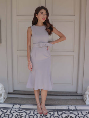 Sera Buckle Dress in Grey