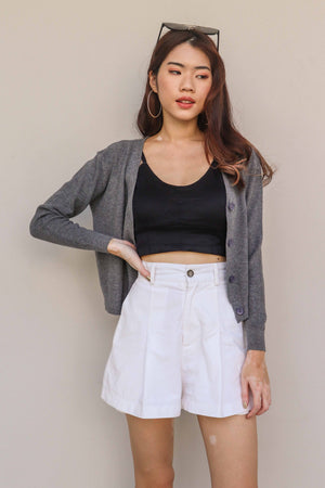 Hela Knitted Short Cardigan in Grey