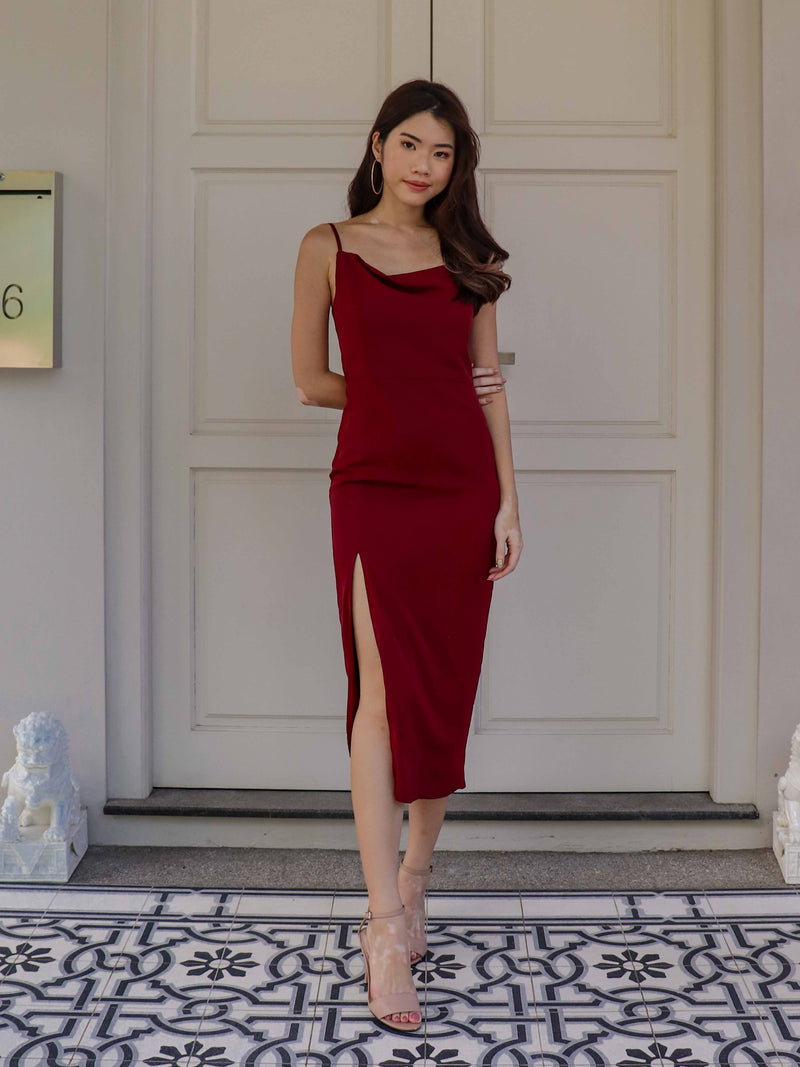 *BACKORDER* Marilyn Cowl Neck Maxi Dress in Wine