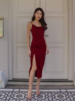 *RESTOCKED 2* Marilyn Cowl Neck Maxi Dress in Wine