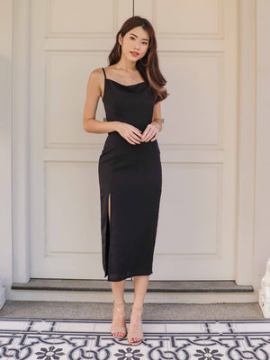*RESTOCKED*Marilyn Cowl Neck Maxi Dress in Black