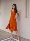 Nolla High Slit Dress in Burnt Orange