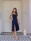 Nolla High Slit Dress in Mid Night Blue
