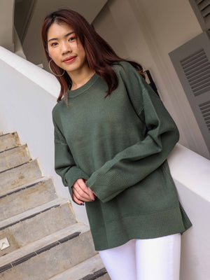Nelli Round Neck Knit Sweater in Moss Green