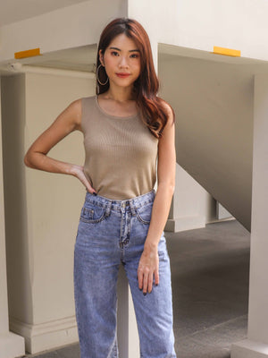 Kalisa Knit Basic Top in Sand