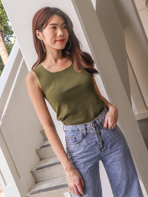 Kalisa Knit Basic Top in Olive