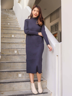 *EXCLUSIVE* Kiki Turtle Neck Knit Dress in Mid Night Blue