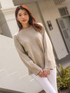 Nelli Round Neck Knit Sweater in Sand