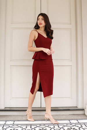 Luna Peplum Slit Dress in Maroon