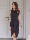 Elvinda Drape Dress in Black