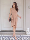 Elvinda Drape Dress in Sand