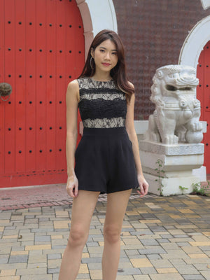Carli Lace Romper in Black