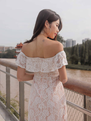 *PREMIUM*Brielle Off Shoulder Lace Dress in White