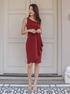Ashle Toga Drape Dress in Maroon