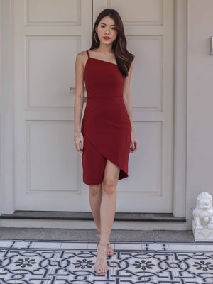 Ellen Toga Dress in Maroon