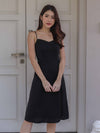 Monet Essential Tie String Slit Dress in Black
