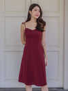 *RESTOCKED* Monet Essential Tie String Slit Dress in Maroon