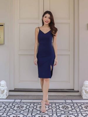 *RESTOCKED* Novah Side Slit Dress in Navy