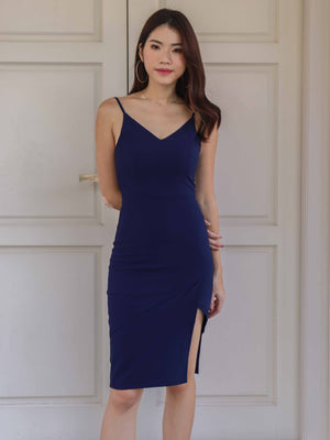 *BACKORDER* Novah Side Slit Dress in Navy