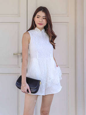 Juel Lace Romper in White