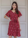Lowi Floral Sleeve Dress in Maroon
