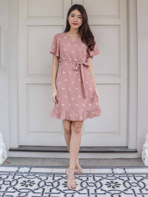 Lowi Floral Sleeve Dress in Blush