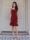 Molley Dress Romper in Maroon
