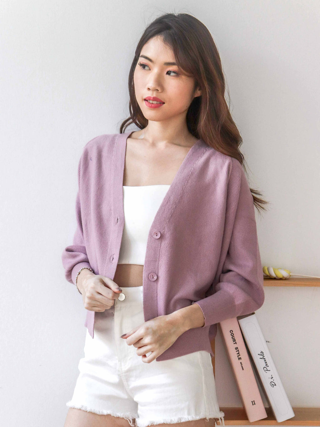 Lande Comfy Cardigan in Purple