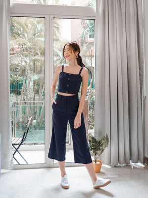 Separate Molo Linen Crop Top/Culottes in Navy