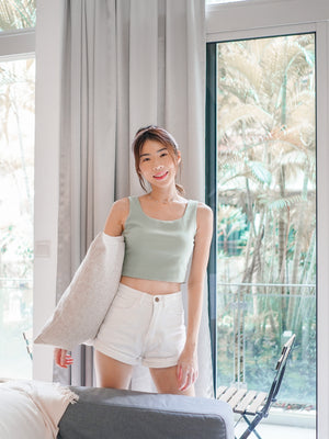 Una Padded Crop Top in Seafoam