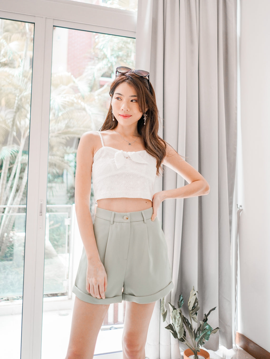 Yoda High Waist Shorts in Seafoam