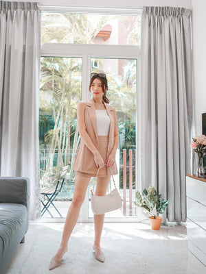 Riccia Sleeveless Skorts Set in Nude