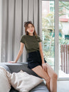 Basic Knit Tee in Olive