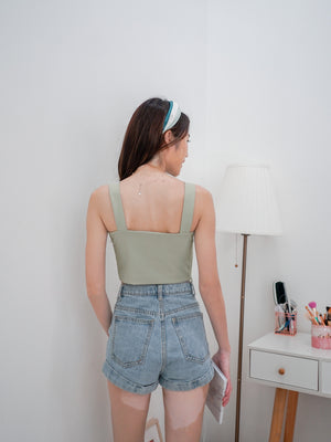 Rica Padded Crop Top in Seafoam