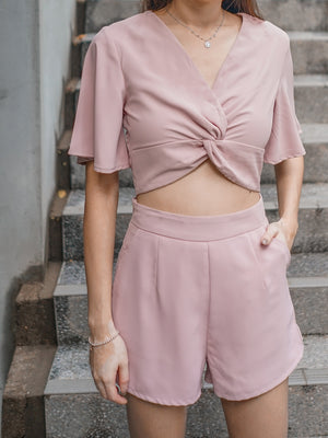 Fiona Knotted 2 Piece Set in Dusty Pink