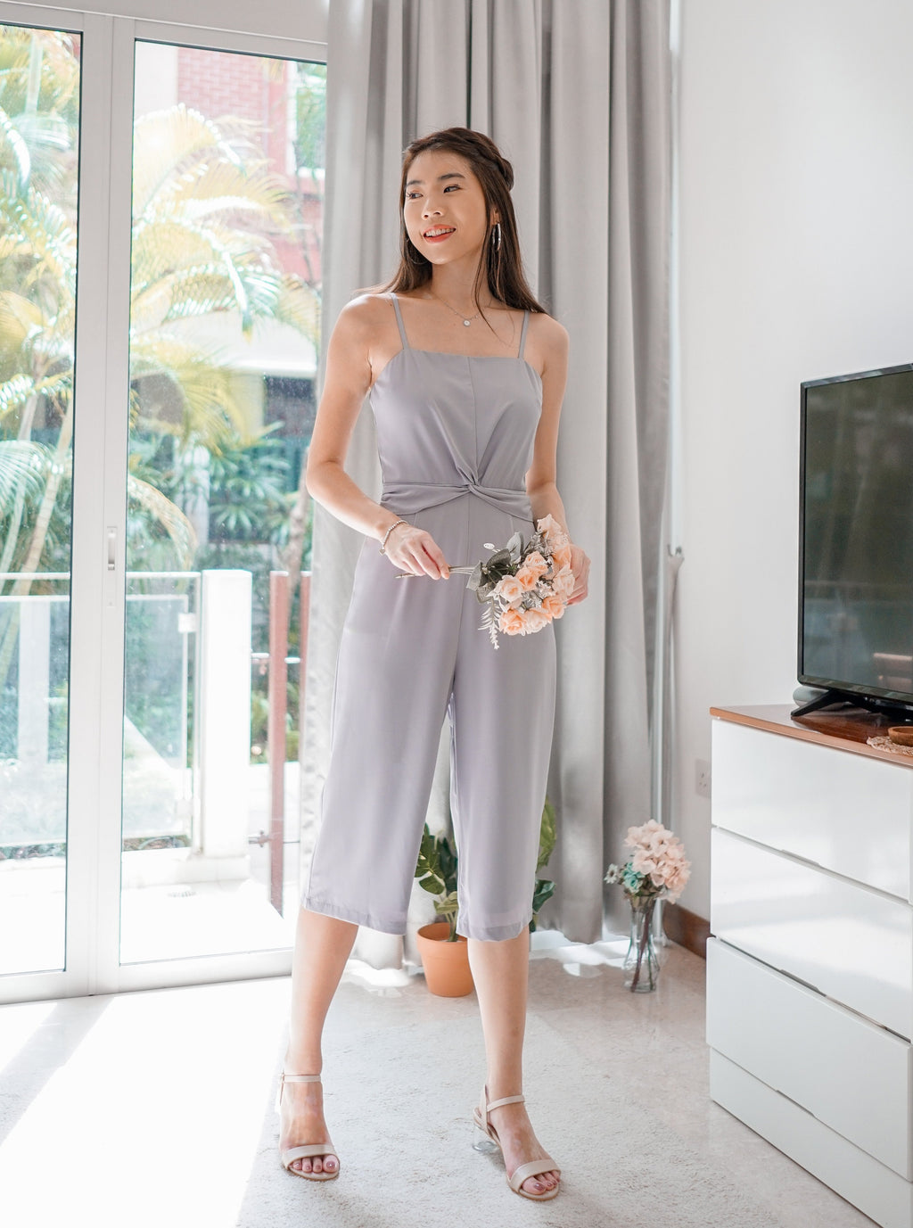 Sally Knotted Jumpsuit in Lilac Grey