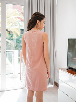 Odessa Shift Dress in Dusty Pink