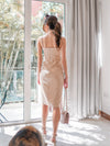 Brenda Ruffles Slit Dress in Nude
