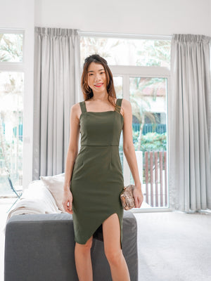 Sheila Basic Slit Dress in Olive