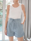 Everyday Paperbag Shorts in Dusty Blue