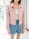 Arianna Crop Denim Jacket in Dusty Pink