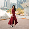 Elisha Fishtail Dress in Maroon