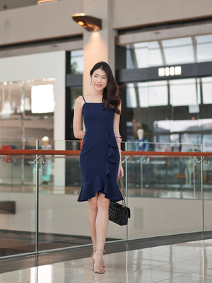 Madeline Ruffle Hem Dress In Navy