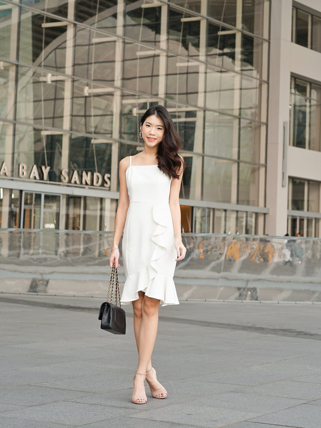 Madeline Ruffle Hem Dress In White