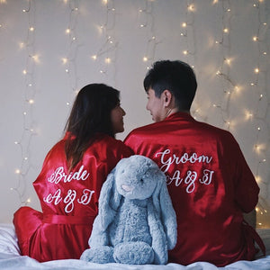 Personalised Red Couple Bridal Robe