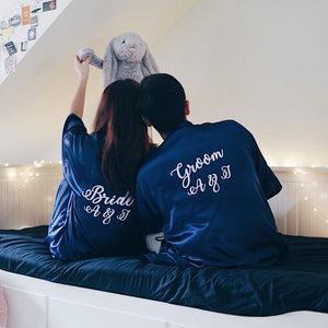 Personalised Navy Couple Bridal Robe