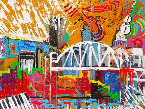 Music in the City Print on Stretched Canvas 24