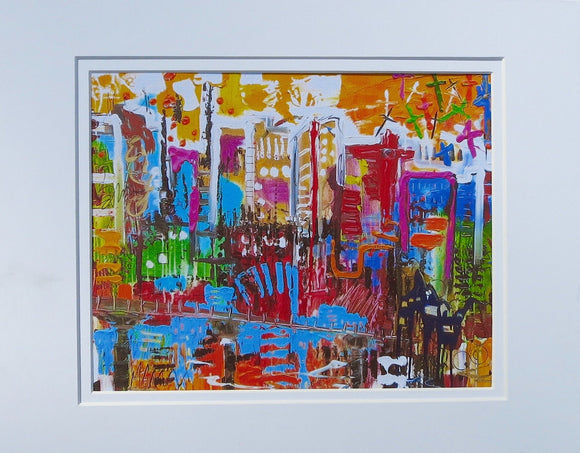 In The City Print on Canvas with Mat 11
