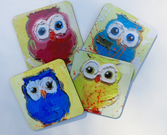 Owl Coasters Set of 4 different owls
