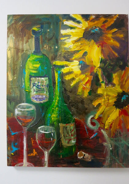 "ORIGINAL WINE PAINTING 30""X24"""